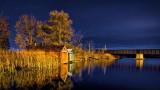 Boathouses & Bridge At Night 20141024