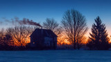 Farmhouse Silhouette At Dawn 20150121