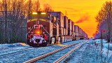 Parked Freight Train At Sunrise 20150227