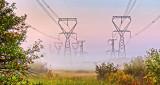 Transmission Towers In Sunrise Ground Fog 45951-3