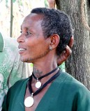 Amharic woman in Yebab near Bahirdar with tattoos on her face and neck. Ethiopia.