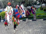 Decorated horses at an Amharic orthodox Christian wedding in Gondar.  Ethiopia.