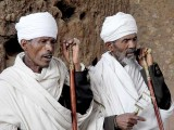 Orthodox Christian priests during a ceremony in Lalibela. Ethiopia.