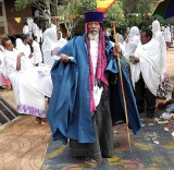 Orthodox Christian priest during a ceremony in Lalibela. Ethiopia.