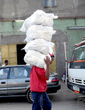 Transport of sacks in a street of Addis Ababa. Ethiopia.