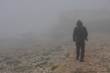 Eric walking in the mist of Nemrut Dagi