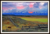 Sunset over the Tetons with art filter.