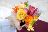 Colorful florals in a conch shell. Photo by Susan Pacek Photography