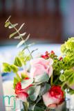 Pinks and greens centerpiece. Photo by www.mandjphotos.com