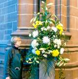 Easter flowers and the arranger