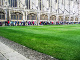 People queueing to attend evensong at King's College Chapel.