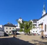 A deserved break in the inner courtyard of Hohensalzburg Fortress