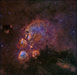 The Cat's paw nebula In Hubble color mapping