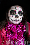 Girl dressed as Catrina in Parade