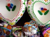 Sugar hearts and baskets of food