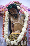 Cristo with leis of flowers