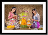 Making of canang (offering) at home
