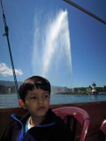 Lake Geneva fountain from a boat