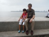 Rahil and Dad on Marine Drive in Bombay