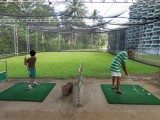 With Nanu at the driving range