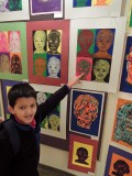 Self-portrait in second grade art fair