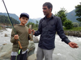 First catch of the day from the Lidder River in Pahalgam, Kashmir