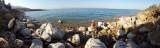 Salt-encrusted shoreline