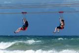 Zip Lining Over the Ocean