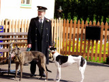 Williton Stationmaster and his two dogs.