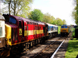 Diesels pass at Crowcombe Heathfield.