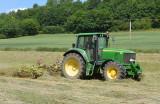 Turning the hay.