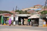 Market shacks along National Highway 1 on the edge of Hargeisa