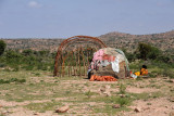 Nomadic herders live in simple shelters in the countryside