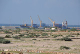 Cranes of the Port of Berbera in the distance