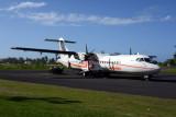 Air Tahiti ATR72 (F-OIQT) on the ramp in Moorea