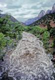 Virgin River Flood from Zion Bridge