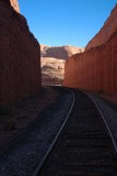 Rail corridor blasted out of the sandstone