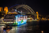 Pacific Pearl moored in Sydney Harbour during Vivid Festival