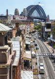 Sydney Harbour Bridge with George Street, The Rocks, Sydney