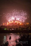 Sydney Harbour with fireworks portrait