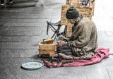 Homeless shoe shine man in street