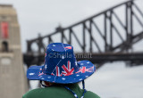 Aussie flag hat with Sydney Harbour Bridge backdrop on Australia Day
