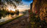 Sunset over the River Seine at Les Andelys, France