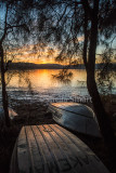 Boats at Narrabeen Lake at sunset, portrait