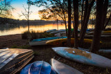 Dinghies at Narrabeen Lake at sunset