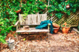 Garden bench using Topaz impressionist filter