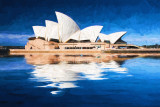Sydney Opera House reflection abstract with painterly effect