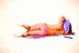 Sunbather on beach