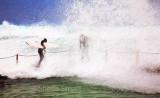 Surfers at rockpool