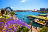 Sydney Harbour with jacaranda tree